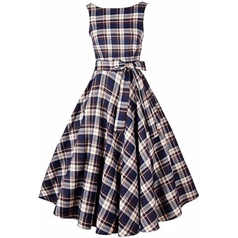 Delgado grande de la vendimia del oscilacion Vestido de coctel sin mangas de los vestidos de algodon de las mujeres falda de tela