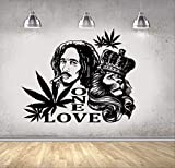 hzcl Sticker MuraWall Decal Bob Marley Lion One Love Wall Sticker Reggae Music Wall Art Murals 57x42cm, Tatouage Mural/Papier Peint/Poster/Silhouette pour La Décoration De La Maison