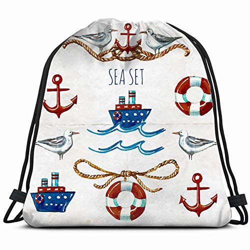 collection watercolor nautical symbols cartoon the arts objects Drawstring Backpack Gym Sack Lightweight Bag Water Resistant Gym Backpack for Women&Men for Sports,Travelling,Hiking,Camping,Shopping Yo -