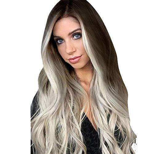 Perruques Cheveux Synthétiques Femme Madame Gris Longue Synthétique pour Ondulées Full Chaleur Naturelle Offre Spéciale Pas cher Fête