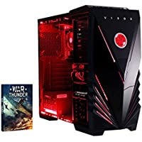 VIBOX Precision 6 - Ordenador para gaming (AMD FX-4300, 8 GB de RAM, 1 TB de disco duro, Nvidia Geforce GT 730) color neón rojo