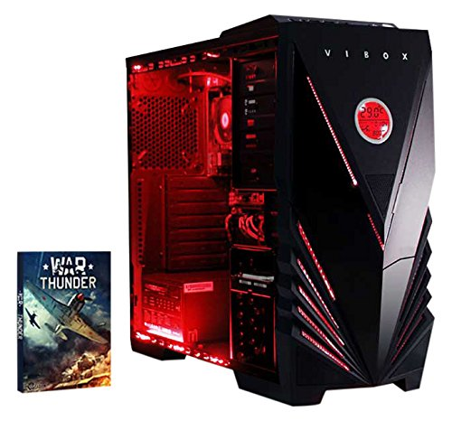 VIBOX Gaming PC - Precision 6 - 4.0GHz AMD FX 4-Core CPU, GT 710 GPU, Budget, Family, Multimedia, Home & Office, Desktop Computer with Game Bundle, Red Internal Lighting and Lifetime Warranty* (Super Fast AMD FX 4300 Quad 4-Core CPU Processor, Nvidia GeForce GT 710 2GB Dedicated Graphics Card GPU, 8GB DDR3 1600MHz High Speed RAM Memory, 1TB (1000GB) Sata III 7200rpm Hard Drive HDD, 85+ Rated PSU Power Supply, Vibox Commando Red LED Gaming Case, AM3+ Motherboard, No Operating System Installed)