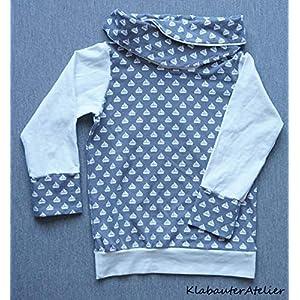 Hoodie Pullover Wickelkragen Jersey Handmade Mädchen Maritim
