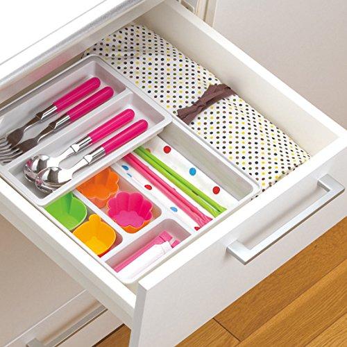 Organisateur/diviseurs tiroir extensible pour couverts, Double Deck Box contenant des tiroirs tiroir de rangement tri Tri fort