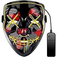 WUYEA Máscara Que Brilla Intensamente Terror De Halloween Máscara Que Destella Asustadiza para Los Adultos Masquerade