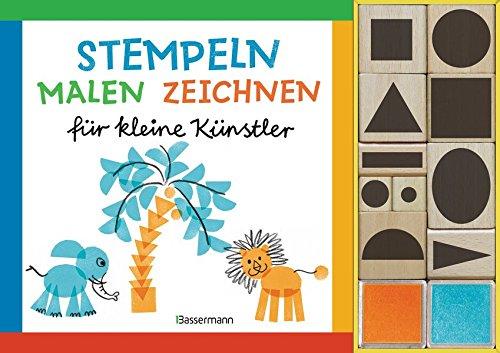 Preisvergleich Produktbild Stempeln, malen, zeichnen-Set: für kleine Künstler. Buch mit 10 Holzstempeln und 2 Stempelkissen