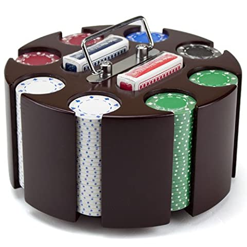 11.5 Gram Suited Poker Chip Set in Wooden Carousel and