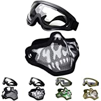 Fansport Máscaras Airsoft, Airsoft BBS Airsoft Mesh Máscara Máscara táctica Máscaras Media con máscaras Set Paintball Máscara de Malla de Acero Cara