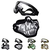 Fansport Tactical Airsoft Mask, Tattica Maschere Maschere Airsoft Airsoft BBS Airsoft Mesh Mask Maschere tattiche Mezze Maschere con Gli Occhiali Set Paintball Face Mask in Acciaio