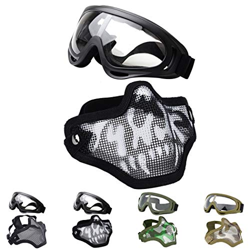 (Fansport Paintball Maske, Airsoft Masken Softair Maske Mesh-Maske Airsoft Paintball Maske Schutzbrille Airsoft Taktische Maske Paintball Schutzbrille Klar Stahl Maske üBerbrille Airsoft Mesh Maske)