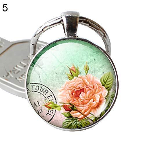 SEGRJ Schlüsselanhänger mit Blumenmotiv, handgefertigt, Glas, Cabochon, Schmuck, Schlüsselanhänger für Freunde, Geschenk – 1# 5# - Fünf Jahr Puppen Alt Für