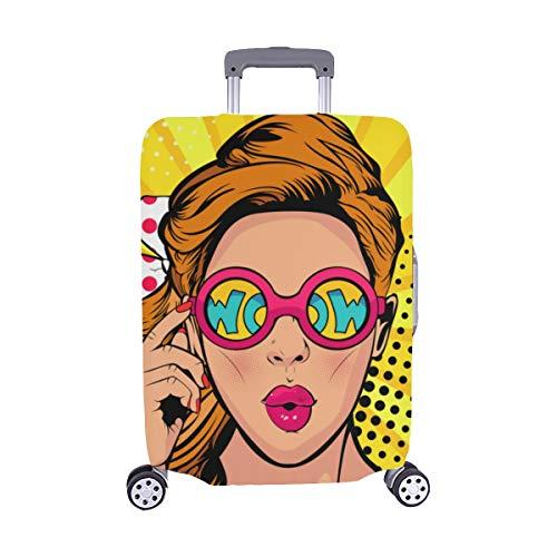 Cool Hip Hop Chica Camiseta a Rayas Sombrero Gafas de Sol Estuche con Maleta Spandex Maleta de Viaje Protector de Maleta Cubierta Protectora para 28.5 X 20.5 Inch