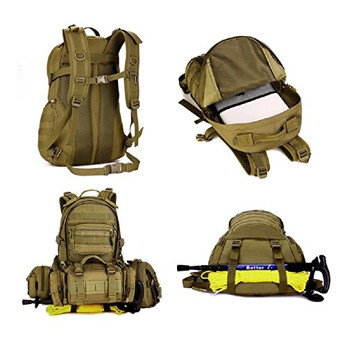 Damen Herren Wasserdichter Rucksack Daypack für Outdoor Tactical Armee Fans packen Kampf-Rucksack Großer Sportrucksack 35L Wanderrucksäcke, Schwarz Dunkelbraun