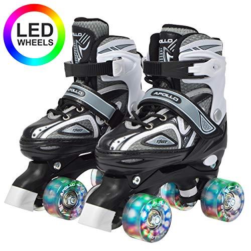 Apollo Super Quad X Pro, verstellbare LED Rollschuhe, ideal für Kinder, komfortable, größenverstellbare Roller Skates für Mädchen und Jungen -
