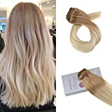 Moresoo 24Zoll Clip in Hair Extensions Full Head Clip on Mensch Voller Kopf Remy Hair Farbe #12 Brown Fading to #60 Blonde Clip Hair Extensions Double Weft Hair 7PCS 120G Set