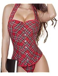 SMO Corset sexy du cru des femmes de plaid rouge Denim corset bustier avec G-String (604)