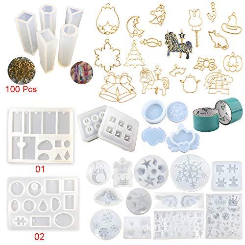 30 Stück Silikonformen Set für Epoxidharz Handwerk Schmuckherstellung Kit Anhänger Ohrringe Armbänder, 17 offene Metall Lünette mit 2x 5 Meter Band, Schmuck Aufbewahrungsboxen Organizers (2-band Puzzle Ring)