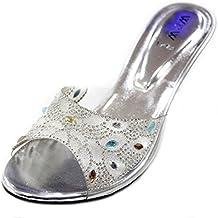 3a62c0c49e7 W   W Mujeres Señoras Noche Diamante Medio Tacón Slip On Sandalia Fiesta  Boda Novia Zapatos