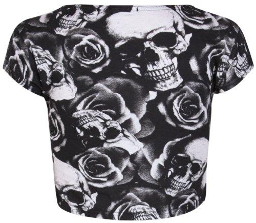 Aztèque Pour Femmes écossais Crâne Rayure Bd imprimé femmes Rond Encolure Ronde Mancheron Court T-Shirt Ventre Haut Imprimé tête de mort et rose