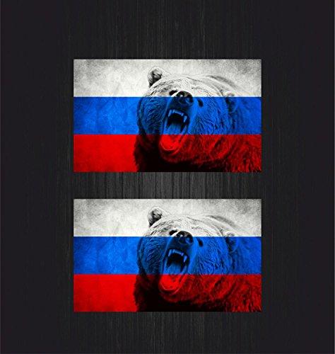 Akachafactory 2x selbstklebend Sticker Auto Flagge Russland Russische Bär UDSSR CCCP sovietique Hat (Hat Cccp)
