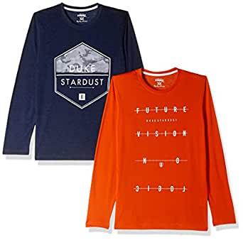 Duke Men's Printed Slim Fit T-Shirt (Pack of 2)(SDVP21_Autumn Sunset_Large)
