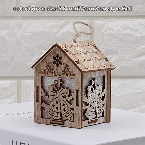 Alextry Weihnachten Holz Nachtlicht Schneemann Elch Bell Nacht Lichter Weihnachtslaterne Dekor