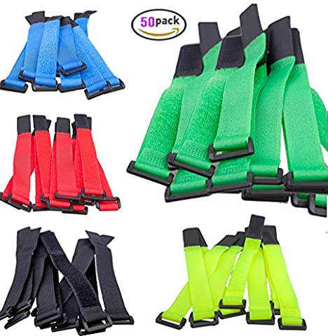 Premium 50 PCS Reusable Fastening Cable Ties Hook and Loop Straps Cord Adjustable Super Sticky Nylon Wire Organizer Wraps with Buckle DIKETE® for Laptop Tablet PC TV Pad Phone Tidying, 5 Colors 8 Inch