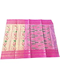 Bengal Traditional Handloom Tant Pure Cotton Cream Color Color With Floral Design PRINTED Saree