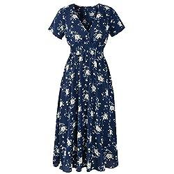 VEMOW Sommer Elegant Damen V-Ausschnitt Urlaub Blumendruck Kleid Casual Täglichen Urlaub Business Arbeit Beach Party Dress(Marine 2, 40 DE/L CN)