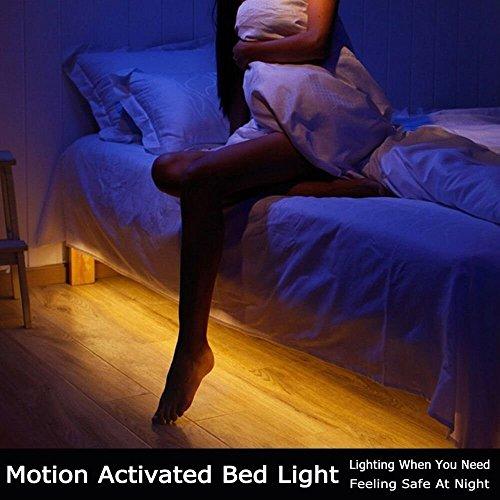 Bewegung aktiviert Bett Licht, GOCHANGE Flexible LED Streifenlicht, Auto Ein/Aus Bewegungsmelder Nachttischlampe, Bewegung aktivierte LED-Lichtleiste(Ein Sensor Kit)