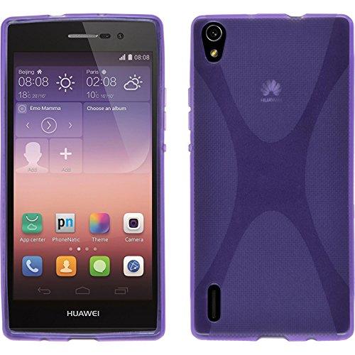 PhoneNatic Case kompatibel mit Huawei Ascend P7 - lila Silikon Hülle X-Style + 2 Schutzfolien