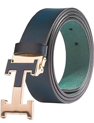 Menschwear Herren Echtes Büffel Leder Gürtel mit Schlupf Schnalle Jeans Hose Gürtel Voellig verstellbar Blau 105cm