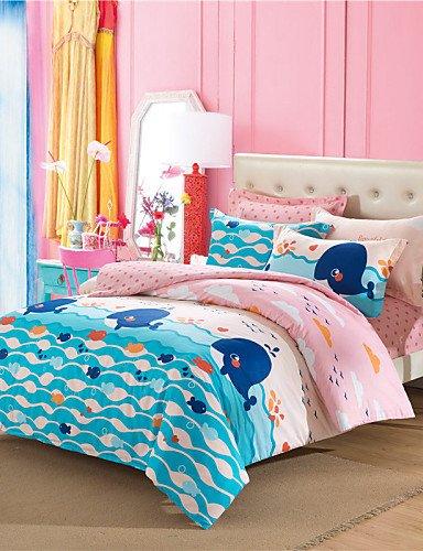 GXS/ Überraschungspreis Wal Bettwäsche-Set rosa und blauen süßen Tröster Kinder Fisch Bettbezug aus Baumwolle couvre beleuchtet 4pcs Queen-Size , queen