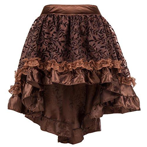 Bslingerie® Damen Gothic Punk Steampunk Spitze Rock Kleidung Kurzer Rock (Braun, L) (Kleidung Für Steampunk Damen)
