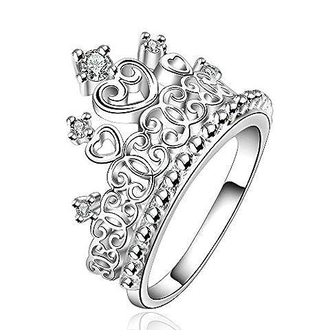 KnSam Damen-Ring 925er Silber Prinzessin Krone Hochzeit Herz Trauringe Zirkonia Straß Eheringe Silber für Frauen Größe 57 (Prinzessin Set Manschettenknöpfe)