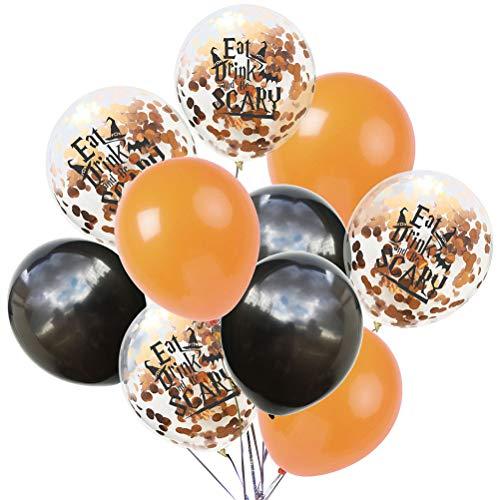 Amosfun 10pcs Halloween Latex Ballon Konfetti Ballon Scary Printing für Halloween-Party-Dekorationen