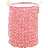 hangnuo Cesto Cesto Portabiancheria pieghevole in cotone e lino, giocattoli domestici vestiti Organizer Bins Pink Dots