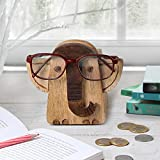 Store Indya, Spectacle Holder Handmade Wooden 2 In 1 Eyeglass Holder With Piggy Money Bank Storage Elephant Shaped Natural Brown Home Office Desk Decor Accessories