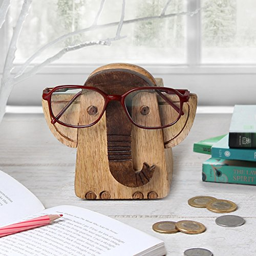 Store Indya Handmade Wooden 2 in 1 Spectacle Eyeglass Holder with Piggy...