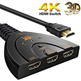 Cable World® HDMI Switch 4K 3 Port, 3 Input 1 Output HDMI Switcher Supports Full HD 4K 1080p