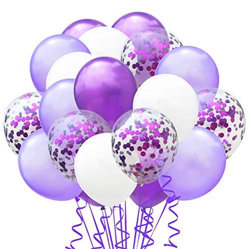 elium Party Ballon Hochzeit Deko Luftballons Geburtstag Kinder Latex Konfetti Ballons Dekoration, Lila Hellviolett Weiß ()