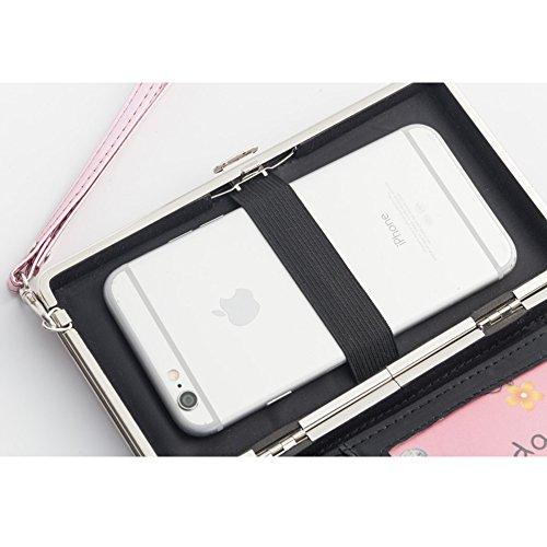 Bonice borsa del portafoglio da donna con la chiusura lampo in pelle PU multifunzione [Grande capacità] Card Slots Case Cover per iPhone 8/8 Plus/iPhone X, iPhone7/7 Plus/6S/6S Plus/6/6 Plus/5/5S/5C/S Occhi-Cover-02