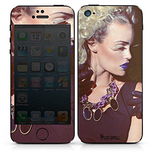 Apple iPhone SE Case Skin Sticker aus Vinyl-Folie Aufkleber Frau Lippenstift Kette DesignSkins® glänzend