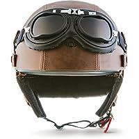 "Moto Helmets/® D22-Set /""Matt Black/"" /· Brain-Cap /· Halbschale Jet-Helm Motorrad-Helm Roller-Helm Scooter-Helm Bobber Mofa-Helm Chopper Retro Cruiser Vintage Pilot Biker Helmet Brille /· XXL 63-64cm"