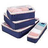 mDesign Set da 4 Organizer valigia - Modulo organizer per borsa e bagaglio a mano - Porta abiti da viaggio in rete e poliestere - blu, bianco e arancione