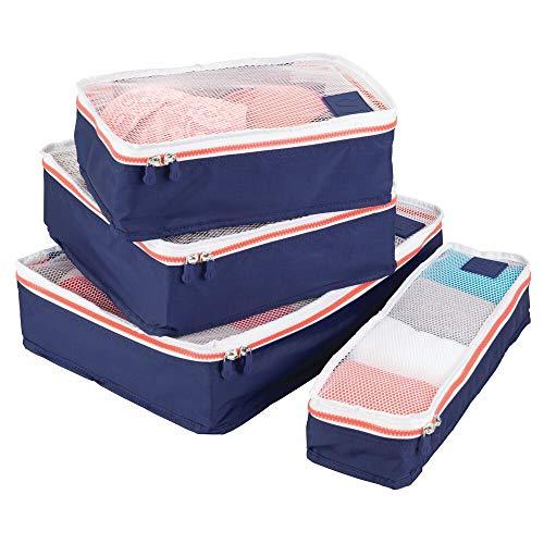 mDesign 4er-Set Aufbewahrungsbox mit Reißverschluss - Packtasche für Handgepäck, Koffer oder Reisetasche - atmungsaktive Wäschebox aus Polyester mit Netzeinsatz - marineblau, weiß und orange