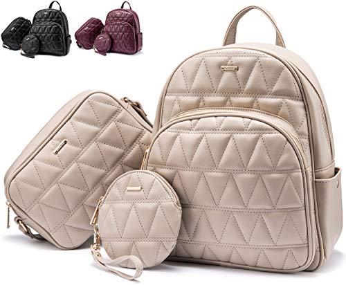 Rucksack Damen Elegant, Klein Damen Rucksack Set Klein Schultasche Kunstleder, Elegant Rucksäcke für Damen-3 Set