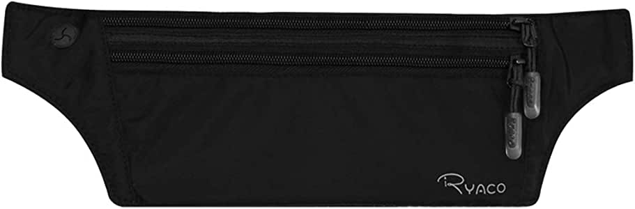 Ryaco Money Belt for Travelling - Hidden Security Pouch for Cards and Passports - High Quality RFID Breathable Material - Protect Your Cash and Conceal Valuables