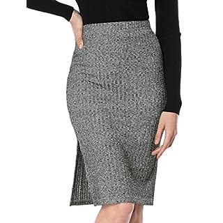 Allegra K Women's Elastic High Waist Knit Slit Side Knee Length Business Work Pencil Skirt Gray S