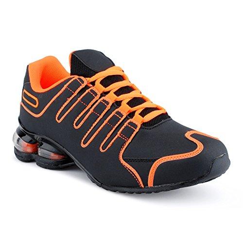 Fusskleidung Herren Damen Sneaker Sportschuhe Lauf Freizeit Neon Runners Fitness Low Unisex Schuhe Orange/Schwarz-M EU 45 (Jordan Schuhe 45)
